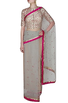 Grey And Fuschia Pink Resham Hand Embroidered And Gota Patti Work Saree With Mirror Work Embedded Golden Blouse by Amota by Priti Sahni