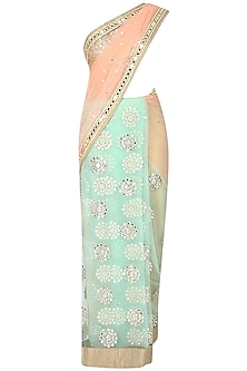 Peach And Apple Green Kundan And Mirror Work Embellished Saree With Light Gold Mirror Work Embedded Blouse by Amota by Priti Sahni