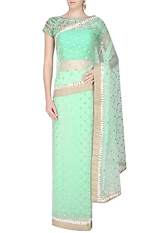 Mint Green Zari Hand Embroidered Saree With Sea Green Kundan And Pearl Work Embedded Blouse by Amota by Priti Sahni