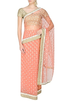 Blush Pink Zari Hand Embroidered Saree With Golden Crochet Cut Work Blouse by Amota by Priti Sahni