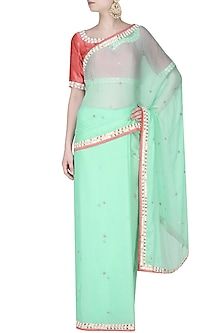 Mint Green Pearl-Zardozi Hand Embroidered Sequinned Saree With Onion Pink Kundan And Pearl Work Embedded Blouse by Amota by Priti Sahni