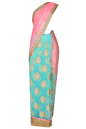 Peach And Sea Green Zardozi Thread Work Bootis Applique Sequinned Saree With Onion Pink Kundan And Pearl Work Embedded Blouse by Priti Sahni