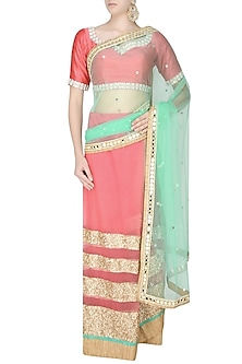 Peach And Mint Green Horizontal Striped Sheer Saree With Onion Pink Kundan And Pearl Work Embedded Blouse by Amota by Priti Sahni