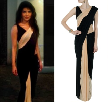 Pre stitched Black and nude jersey sari with draped blouse by Shivan and Narresh