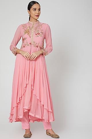 Pearl Pink Embroidered Anarkali Set by PREETI JHAWAR