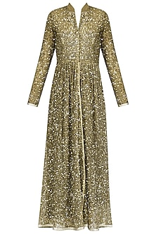 Gold Sequins Embroidered Pleated Jacket by Priyanka Raajiv