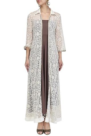 Ivory Chikankari Sequined Jacket by Priyanka Raajiv