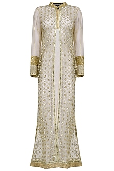 Gold Gota Work Sheer Jacket by Priyanka Raajiv