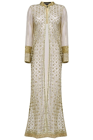 Gold Gota Work Sheer Jacket by Priyanka Raajiv