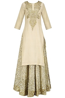 Beige Stone Embroidered Kurta and Chanderi Lehenga Set by Priyanka Raajiv