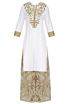 Ivory Aari Work Kurta and Sharara Pants Set by Priyanka Raajiv