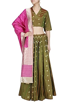 Bottle Green Zari Bootis Lehenga Set by Priyanka Raajiv