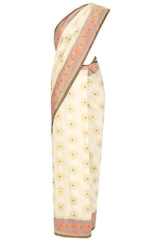 Ivory Brocade Silk Saree by Priyanka Raajiv