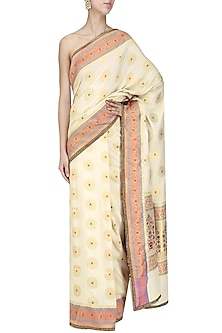 Ivory Brocade Silk Saree by Priyanka Raajiv