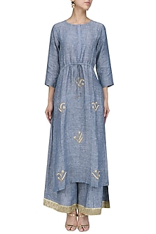 Blue Aari Work Kurta and Palazzo Pants Set by Priyanka Raajiv