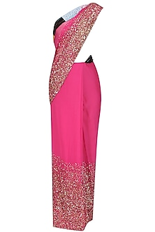Pink Sequins Embroidered Saree by Priyanka Raajiv
