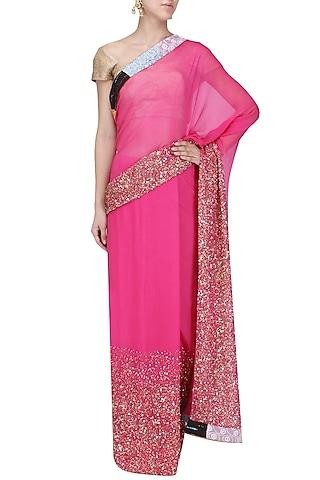 Pink Sequins Embroidered Saree by Priyanka Raajiv