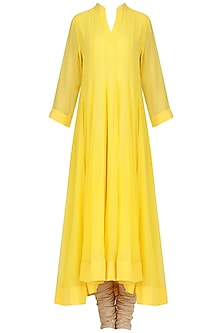 Chrome Yellow Asymmetrical Kurta Set by Priyanka Raajiv