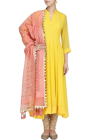 Chrome Yellow Asymmetrical Kurta Set by Priyanka Raajiv