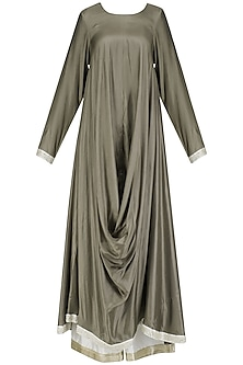 Taupe Cowl Drape Kurta and Palazzo Pants Set by Priyanka Raajiv