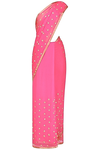 Pink Gota Work Saree by Priyanka Raajiv