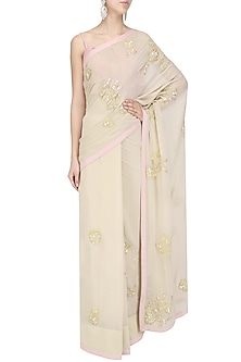 Beige Sequins and Applique Work Saree by Priyanka Raajiv