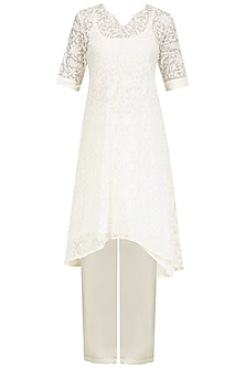 Ivory Chikankari Kurta Set with Peach Dupatta by Priyanka Raajiv