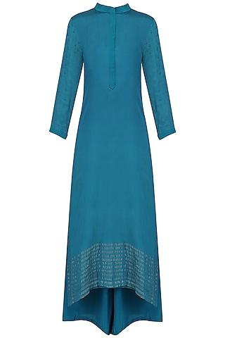Teal Blue Embroidered Kurta and Palazzo Pants Set by Priyanka Raajiv