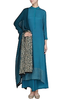 Teal Blue Embroidered Kurta and Palazzo Pants Set by Priyanka Raajiv