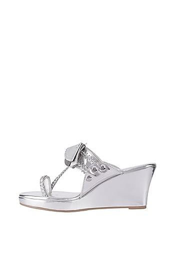 Silver Detachable Tassel Kolhapuri Wedge Heel Sandals by Preet Kaur