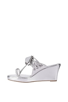 Silver Detachable Tassel Kolhapuri Wedge Heel Sandals by Preet Kaur