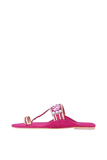 Hot Pink Embroidered Kolhapuri Flats by Preet Kaur