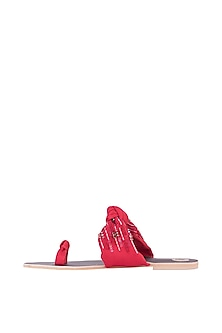 Red Embroidered Knotted Thumb Flats by Preet Kaur
