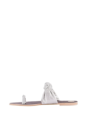 Silver Knotted Thumb Flats by Preet Kaur