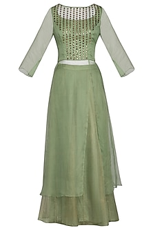 Sage green embroidered printed kurta with pants by Priyam Narayan