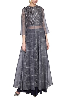 Navy blue embroidered printed crop top with pants and tunic by Priyam Narayan