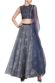 Navy blue embroidered printed lehenga set by Priyam Narayan