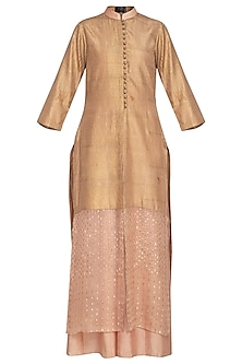 Peach embroidered kurta with palazzo pants by Priyam Narayan