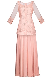Peach embroidered jacket with pants by Priyam Narayan