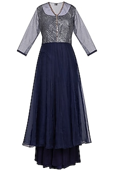 Navy blue embroidered printed anarkali set by Priyam Narayan