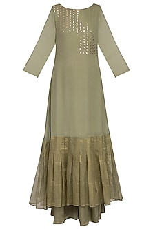 Sage green embroidered printed kurta with palazzo pants by Priyam Narayan