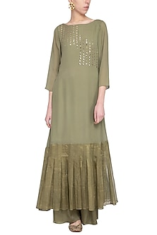 Sage green embroidered printed kurta with palazzo pants by Priyam Narayan