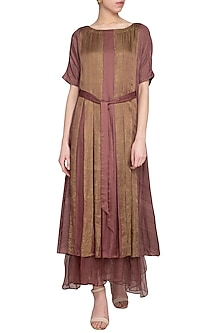 Maroon embroidered printed layered dress by Priyam Narayan