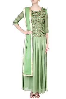 Sea Green Thread Embroidered Top with Skirt by Priyam Narayan