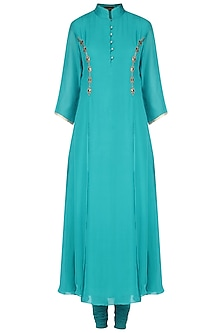 Turquoise Blue Mukaish Work Pleated Kurta Set by Priyam Narayan