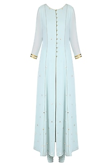 Pale Blue Mukaish Work Jacket Style Kurta Set by Priyam Narayan