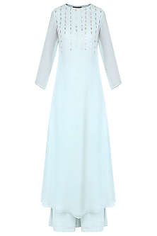 Pale Blue Thread Embroidered Kurta Set with Palazzo Pants  by Priyam Narayan