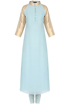 Pale Blue and Gold Thread Embroidered Kurta Set by Priyam Narayan