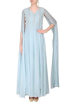 Pale Blue Rope Detail Multi Panelled Maxi Dress by Priyam Narayan