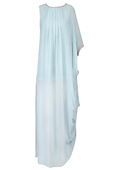 Pale Blue Rope Detail One Side Cowl Draped Dress by Priyam Narayan